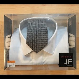 J.Ferrar Boxed White Longsleeve shirt & Tie New